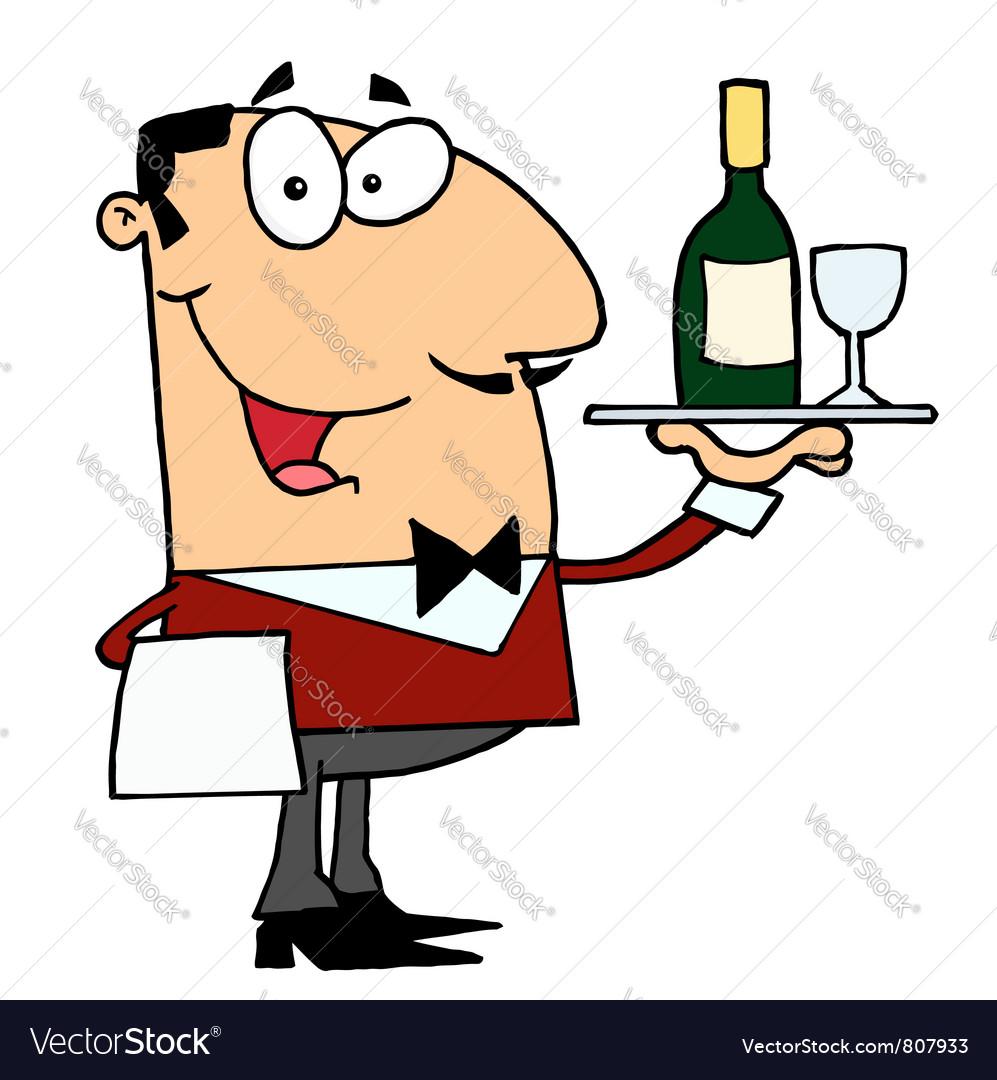Friendly Caucasian Male Butler Serving Wine vector image