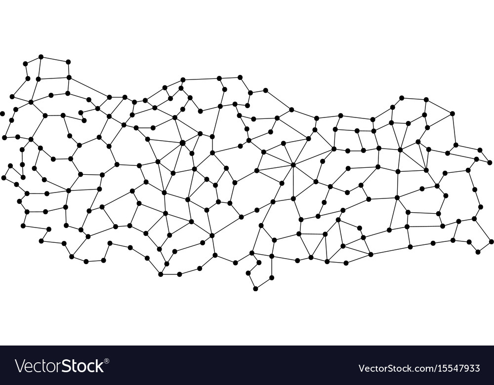 Turkey map of polygonal mosaic lines rays and vector image