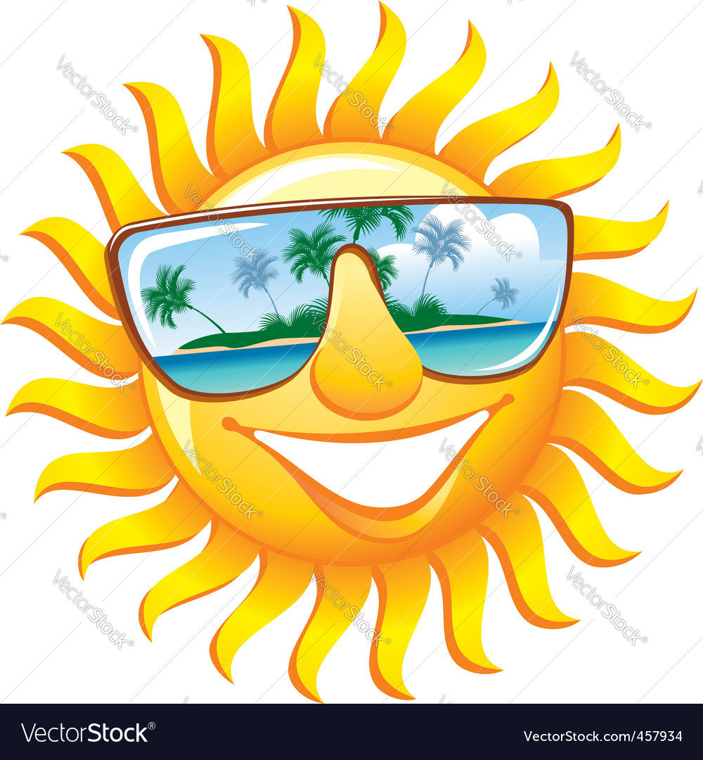 Cheerful sun in sunglasses vector image