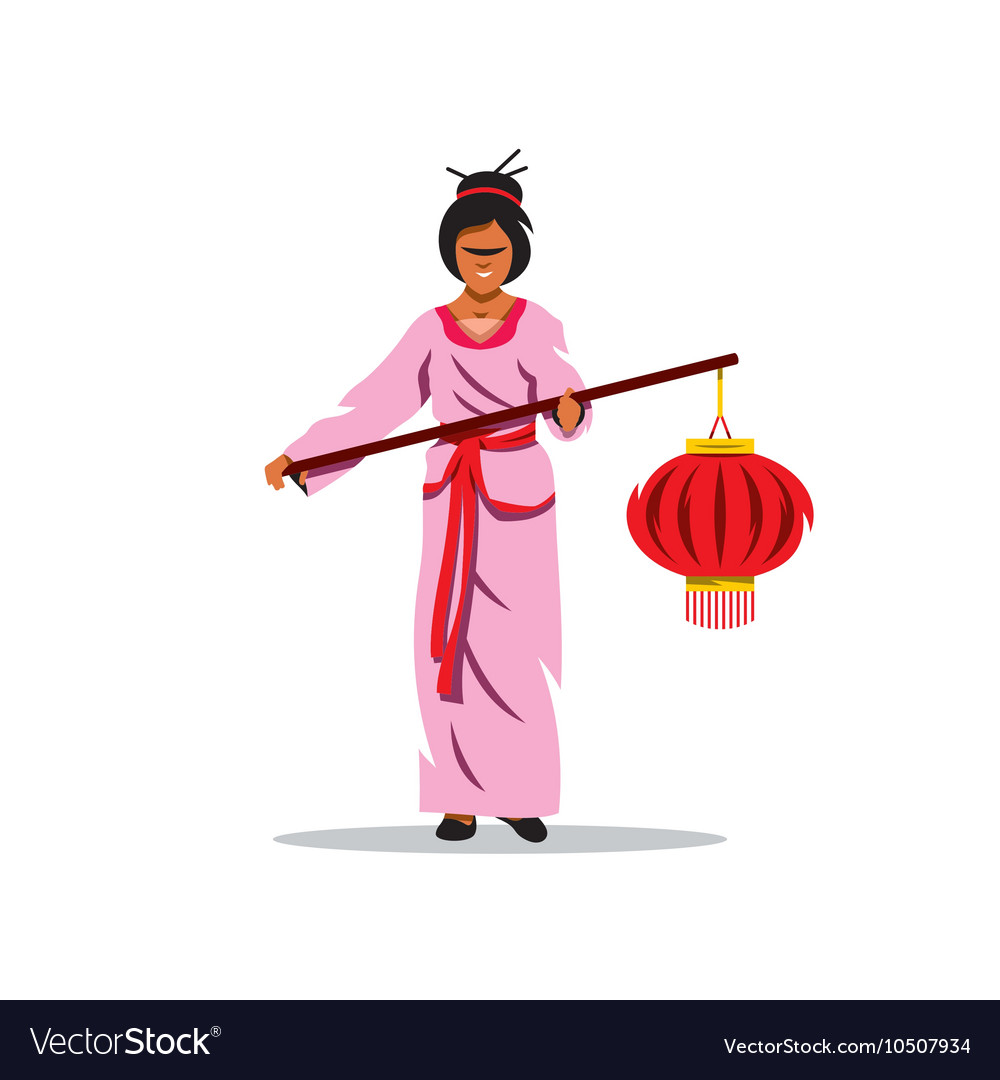Asian Woman with lantern Cartoon vector image
