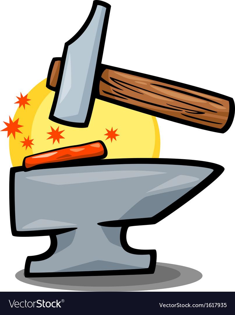 Hammer and anvil clip art cartoon vector image