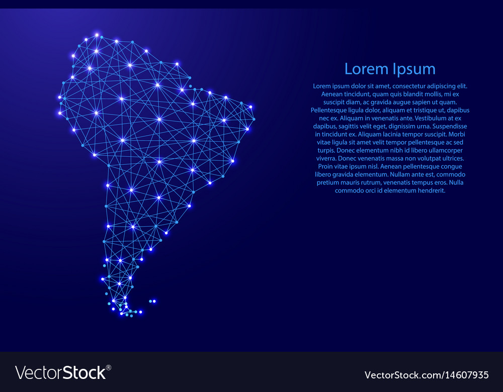 Map of south america from polygonal blue vector image