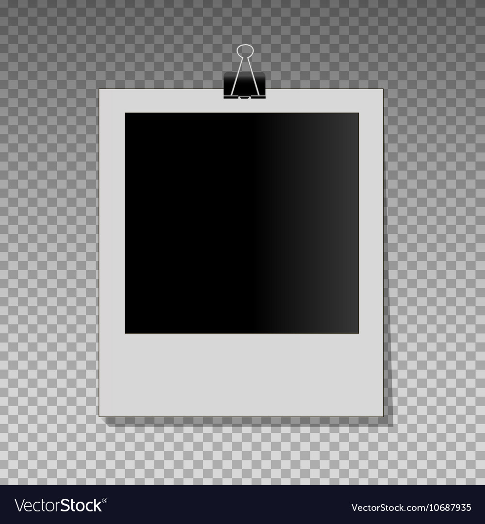 Realistic photo frame on black pin vector image