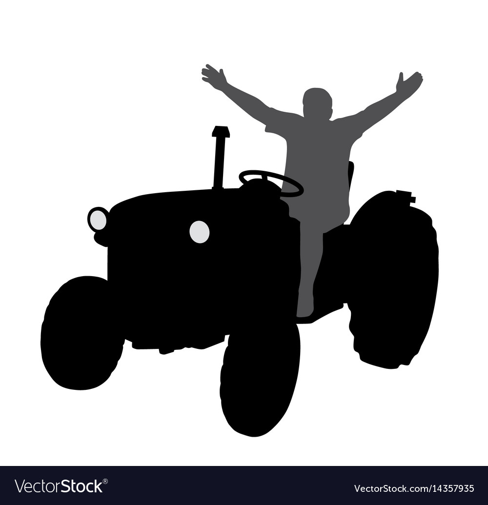 Successful happy farmer on tractor with hands up vector image