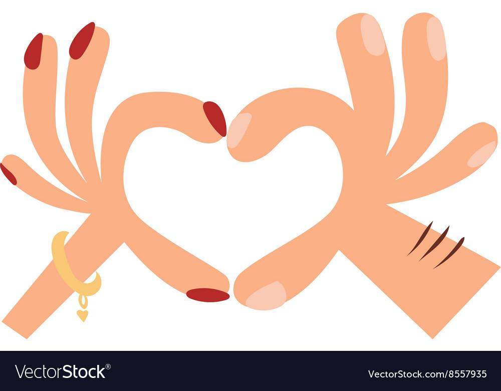 Woman hands making a heart shape sign cartoon flat vector image