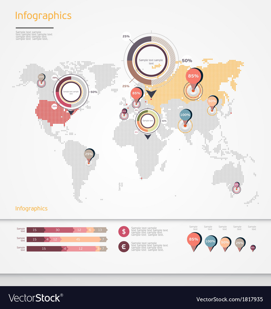 World map infographic royalty free vector image world map infographic vector image gumiabroncs Images