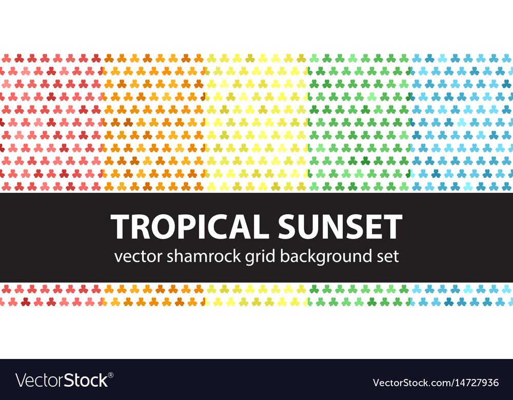 Shamrock pattern set tropical sunset seamless vector image
