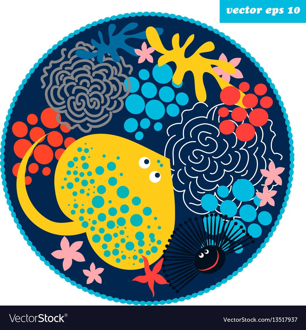 Cartoon fish circle vector image