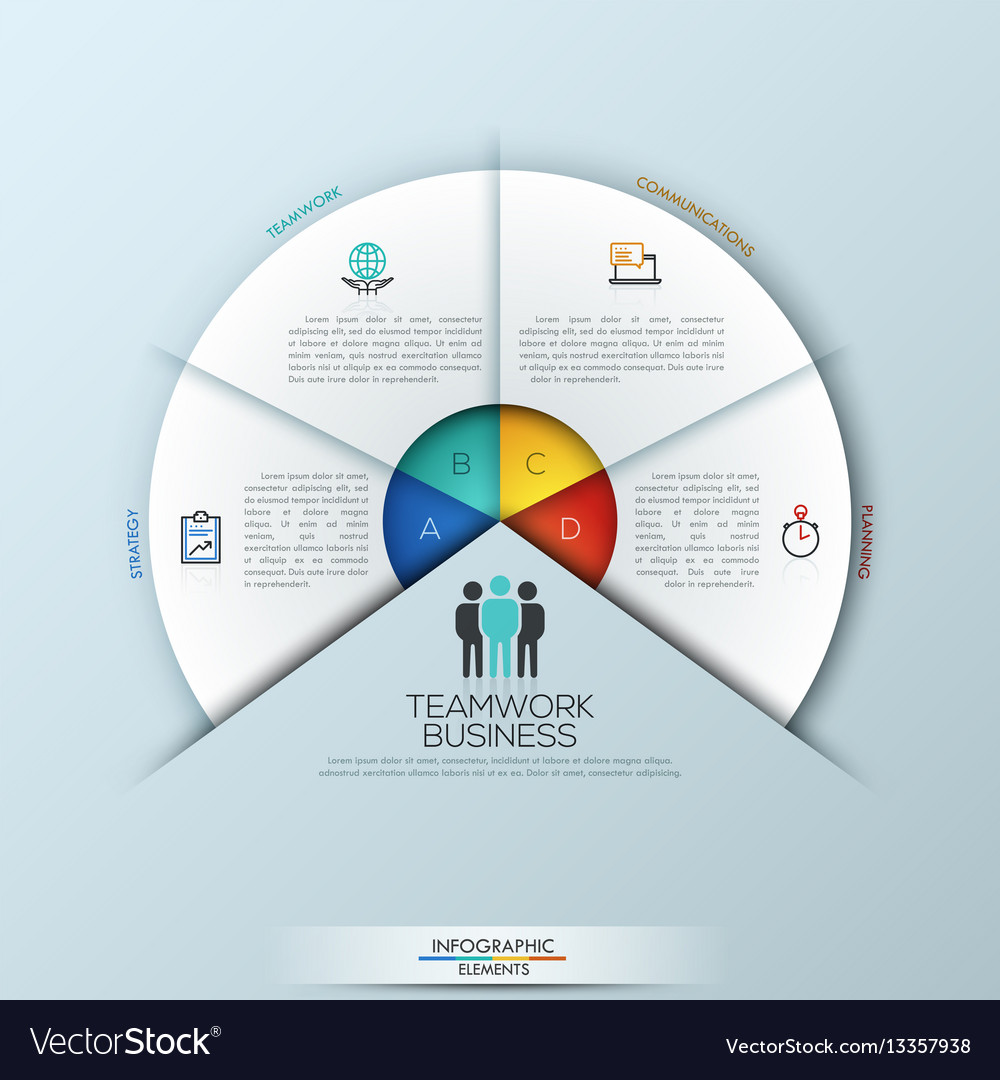 Circular infographic design template with 4 vector image