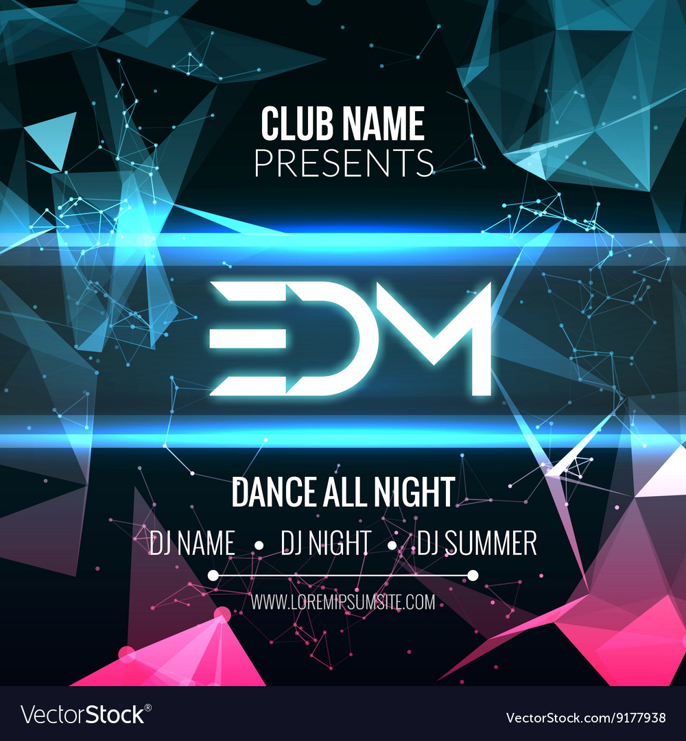 Modern edm music party template dance party flyer vector image saigontimesfo