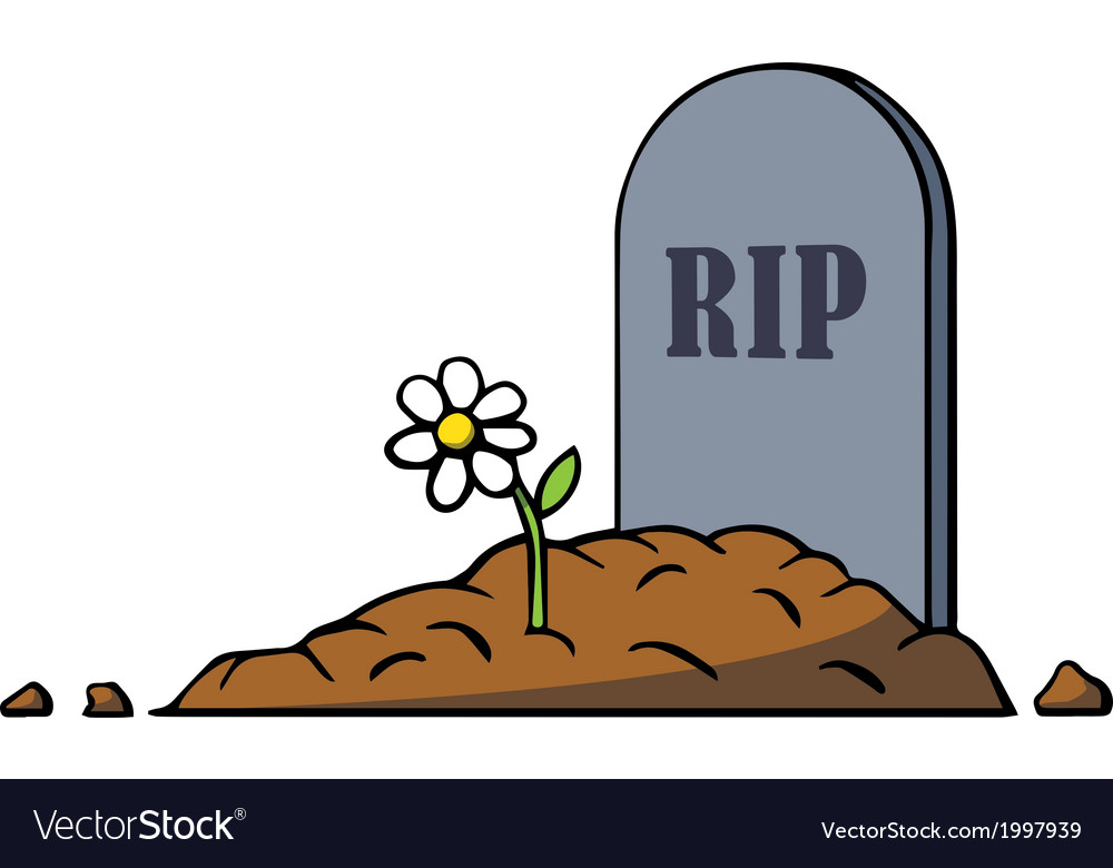 Cartoon grave with tombstone and flower Royalty Free Vector