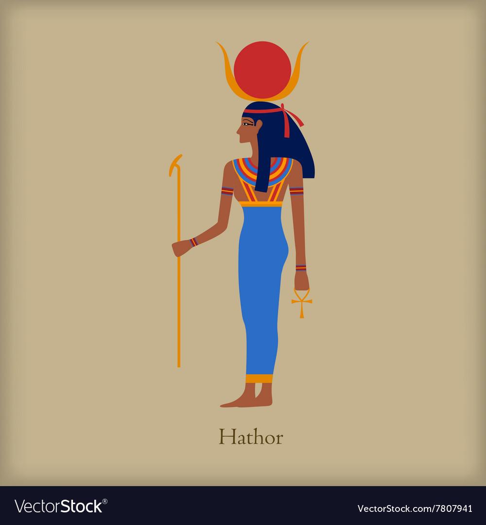 Hathor Goddess of love icon flat style vector image