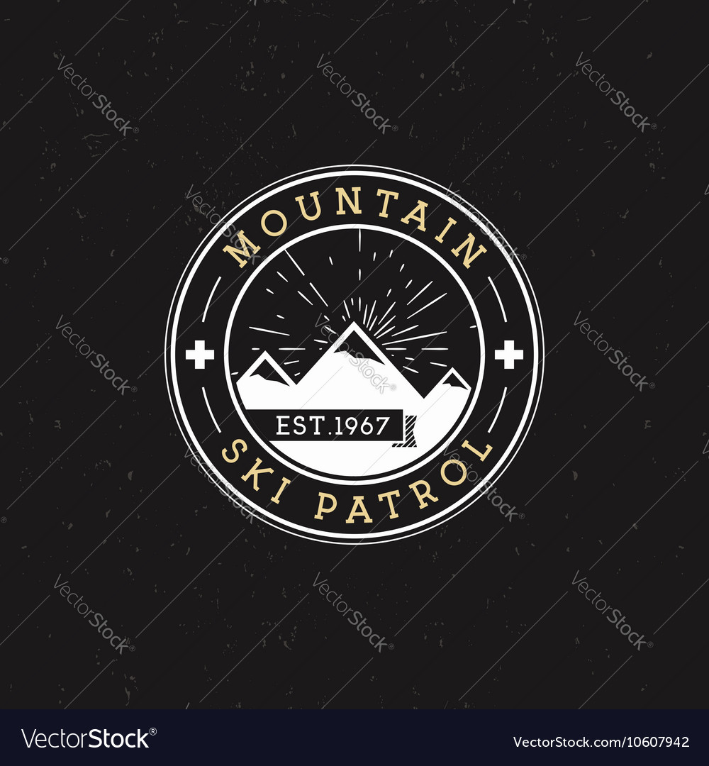 Camping Label Vintage Mountain ski patrol round vector image
