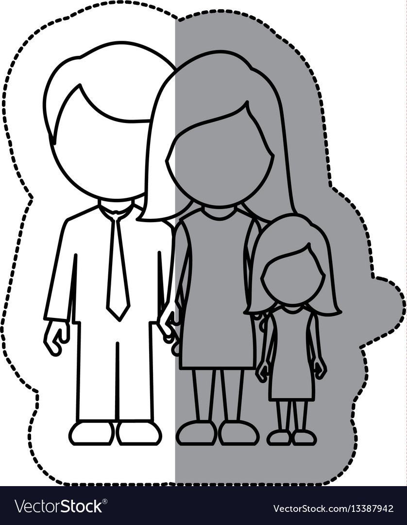 Silhouette family with their dougther icon vector image