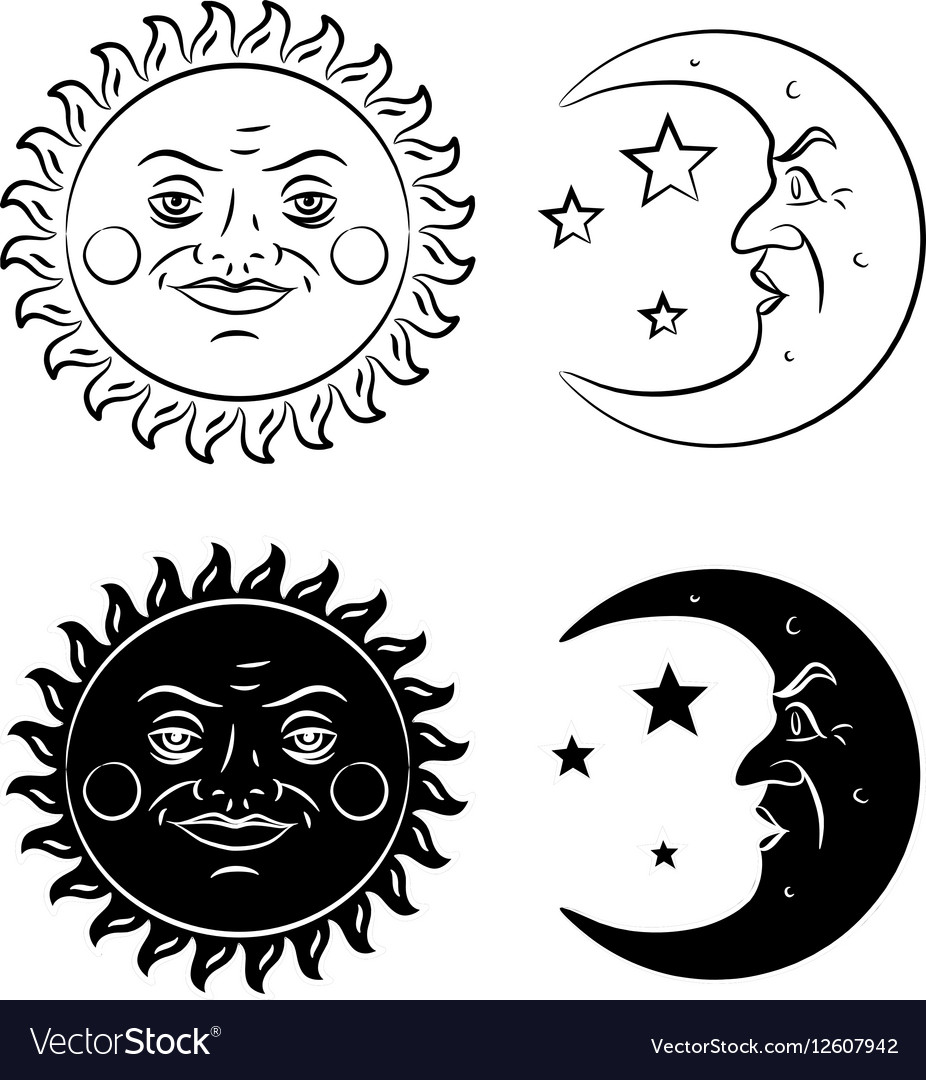 Vintage hand drawn sun and moon royalty free vector image vintage hand drawn sun and moon vector image biocorpaavc Images