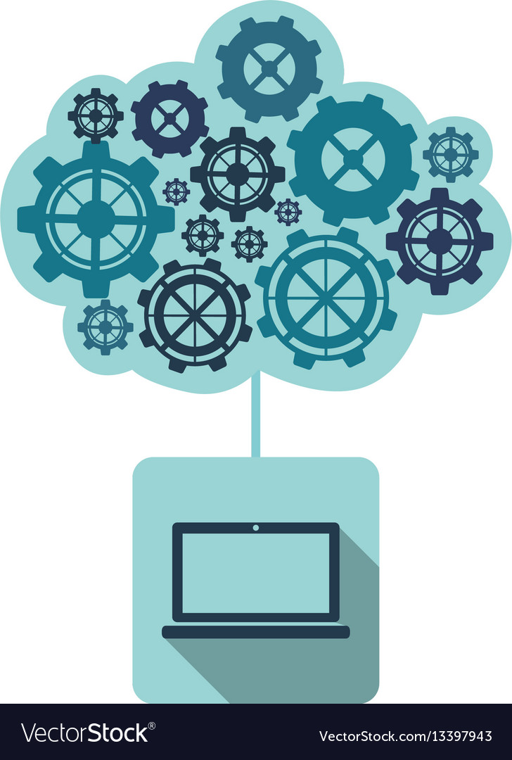 Blue laptop with gears cloud vector image
