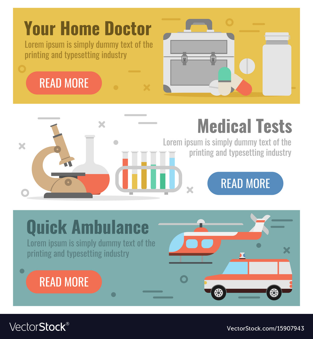 Three banner for medical help vector image