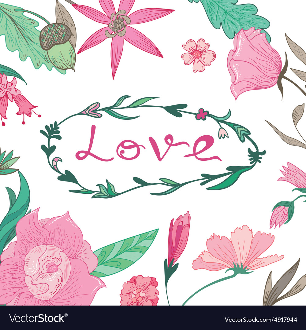 Love Lettering in Summer Floral Frame vector image