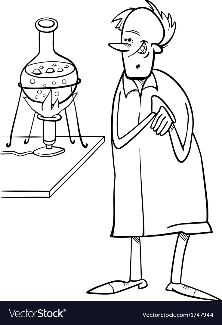 Scientist in laboratory coloring page vector image