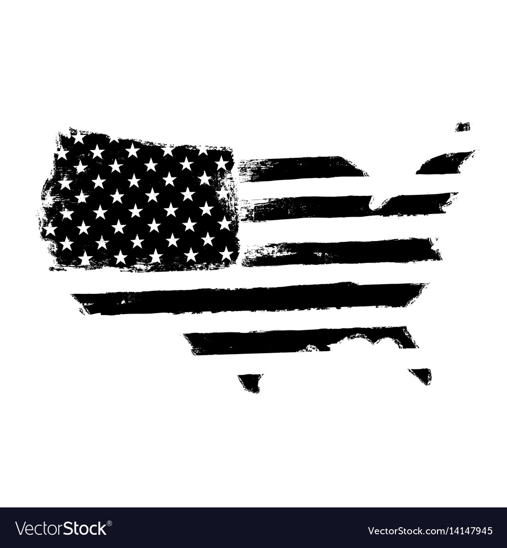 America map flag shaped territory of united vector image