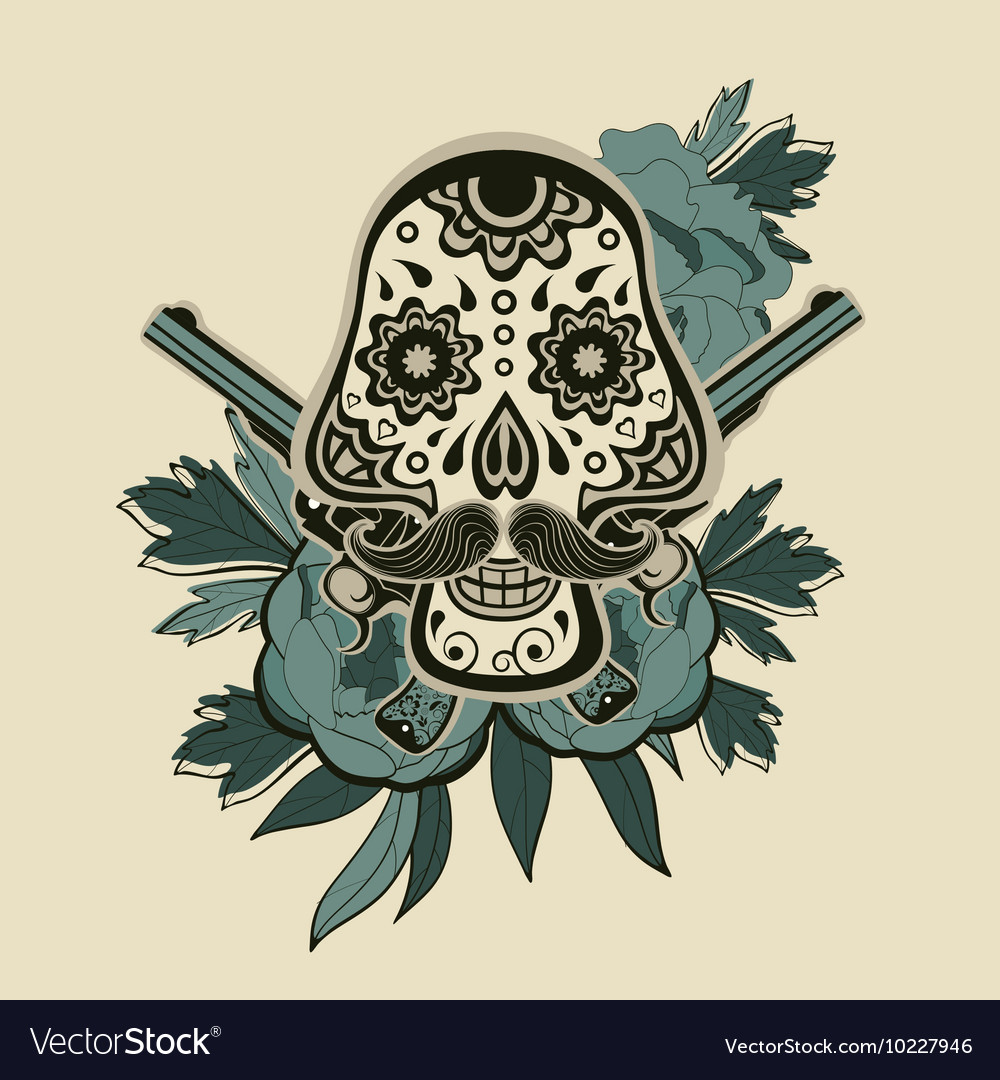 Hand drawn sugar skull with flowers and guns vector image