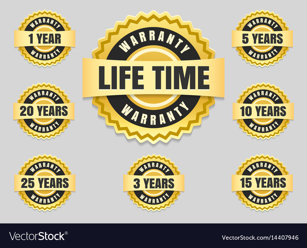 Years warranty labels and guarantee seals vector image