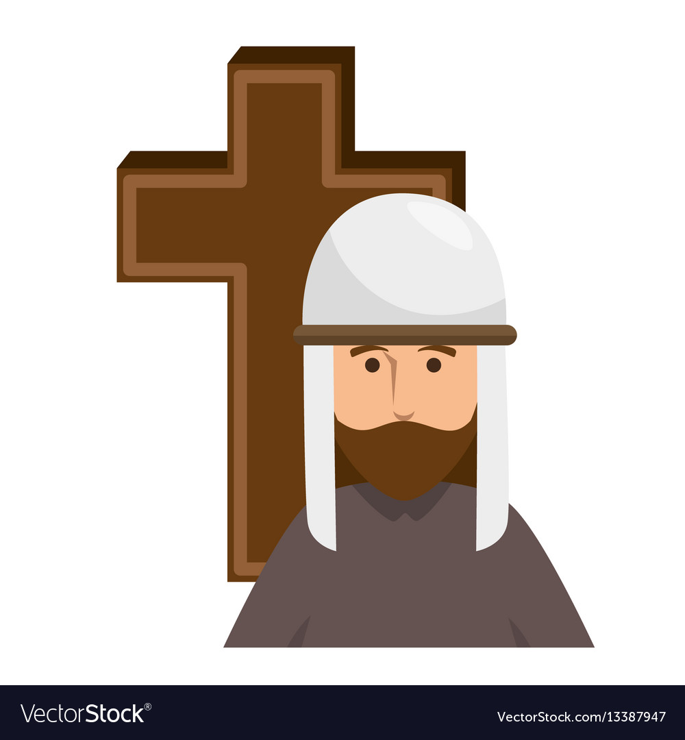 Cross with prayer antique vector image