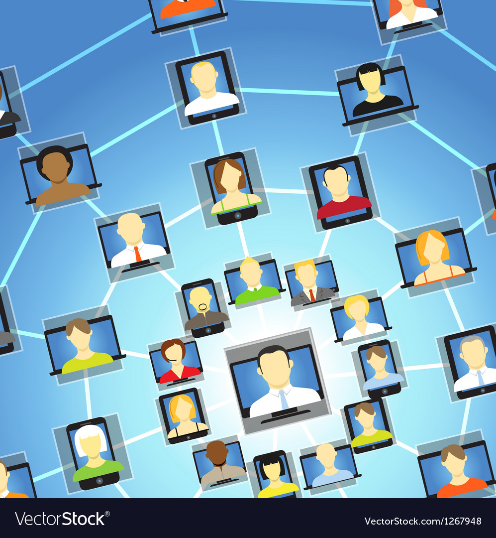 Global social network abstract scheme vector image