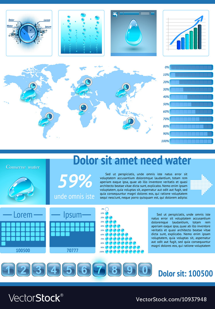 Save Water infographics Information Graphics vector image