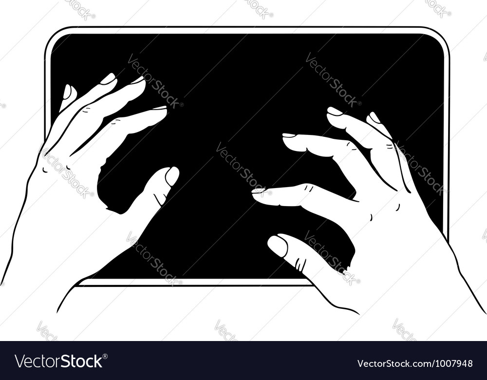 Typing on tablet pc vector image