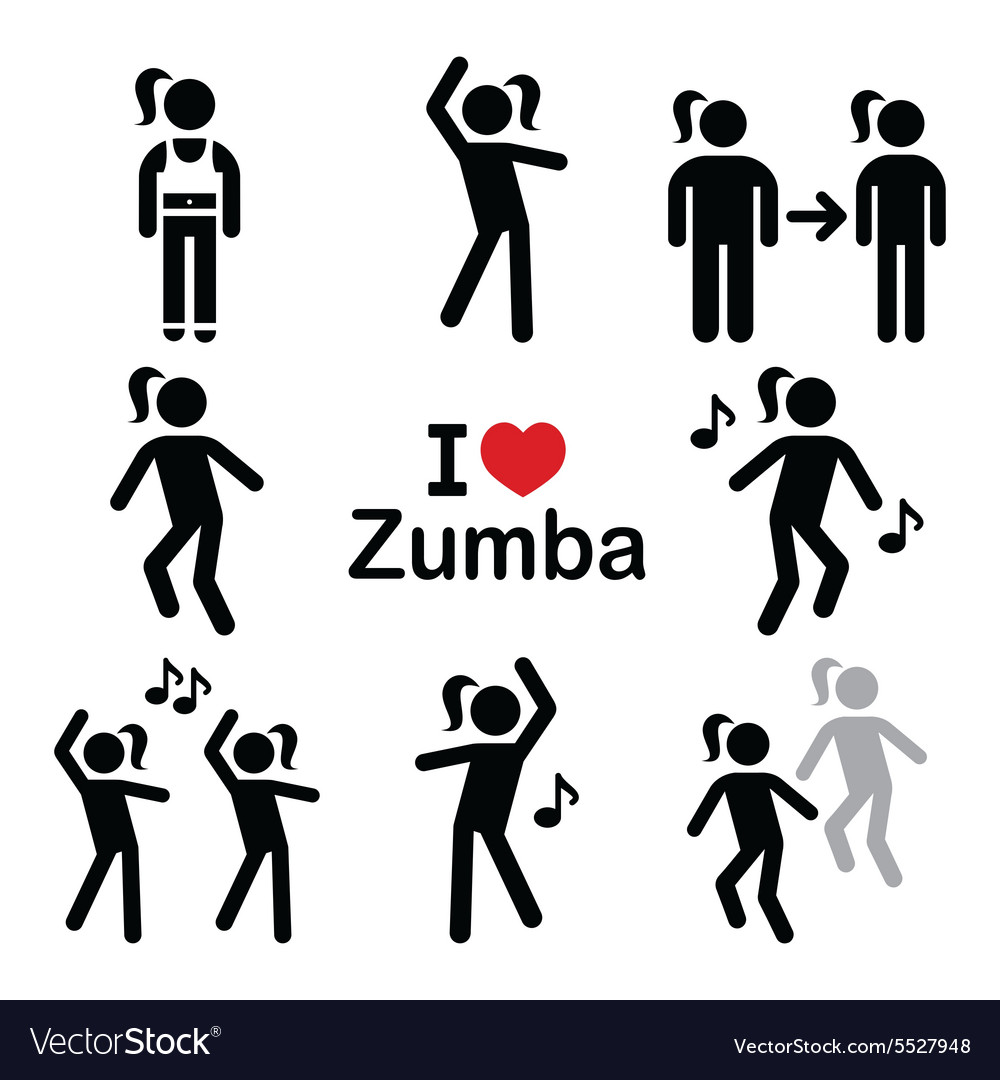 Zumba dance workout fitness icons set Royalty Free Vector
