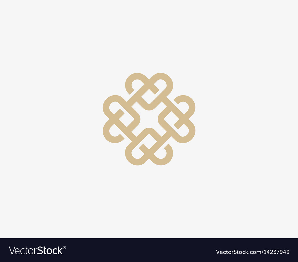 Universal heart ornament logotype abstract line vector image