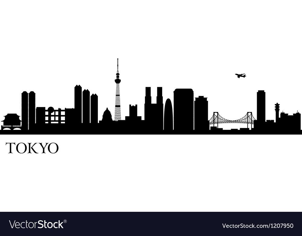 Tokyo silhouette black vector image