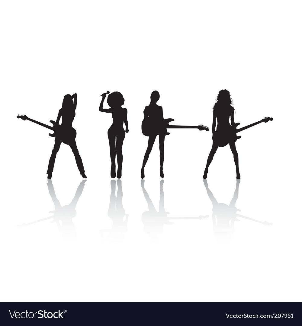 Rock stars silhouettes Vector Image