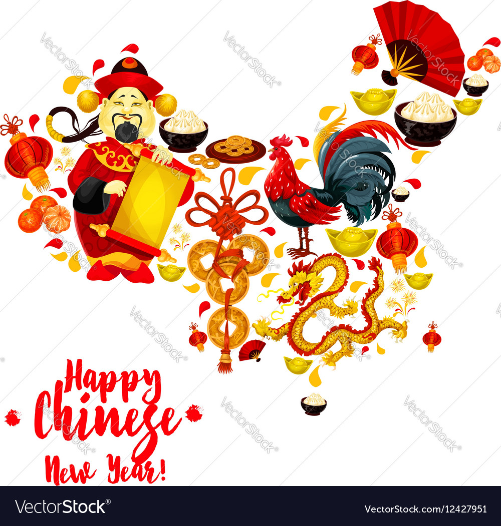 map of china made up of chinese new year symbols vector image - Chinese New Year Symbols
