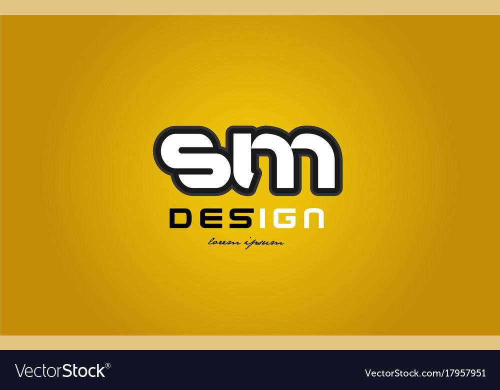Sm s m alphabet letter combination digit white on vector image