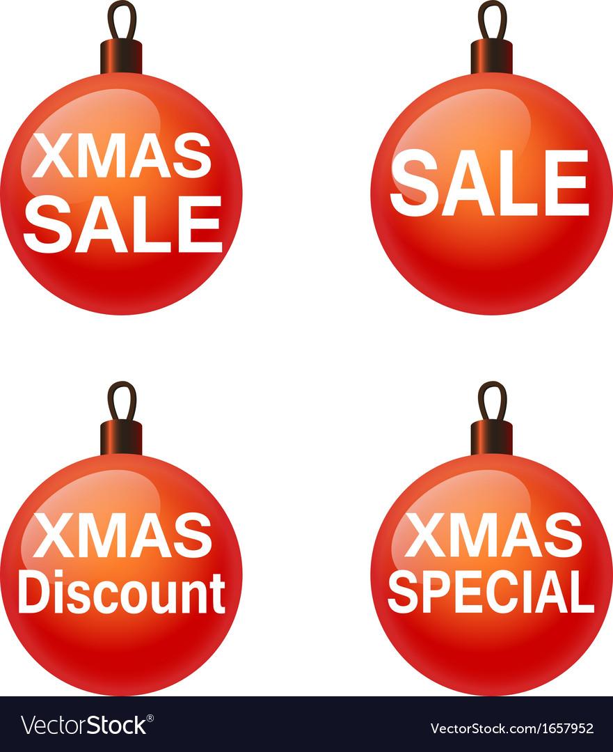 Christmas sale Set of balls Weihnachtskugel vector image