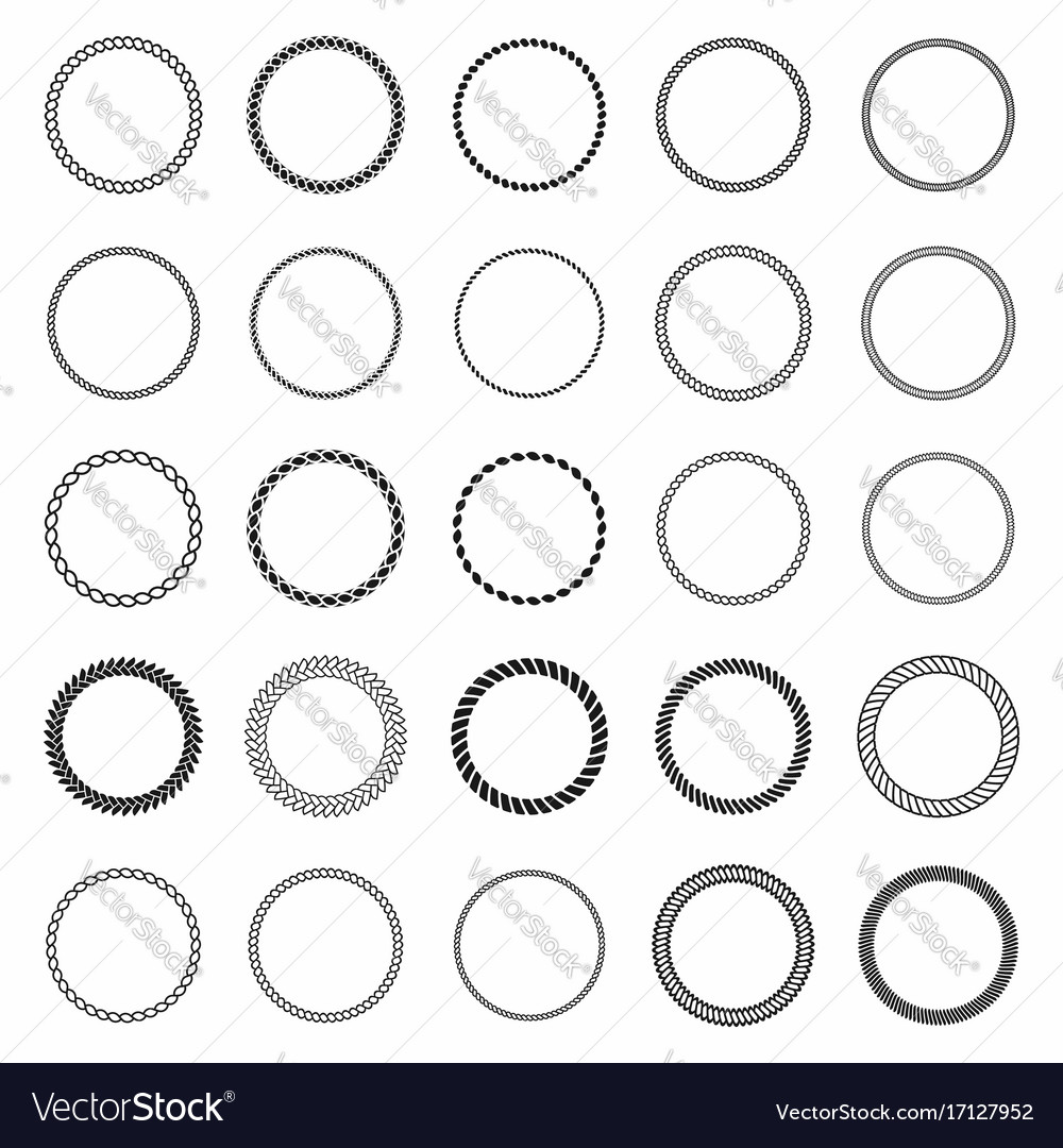 Rope frame set of round frames from nautical rope vector image