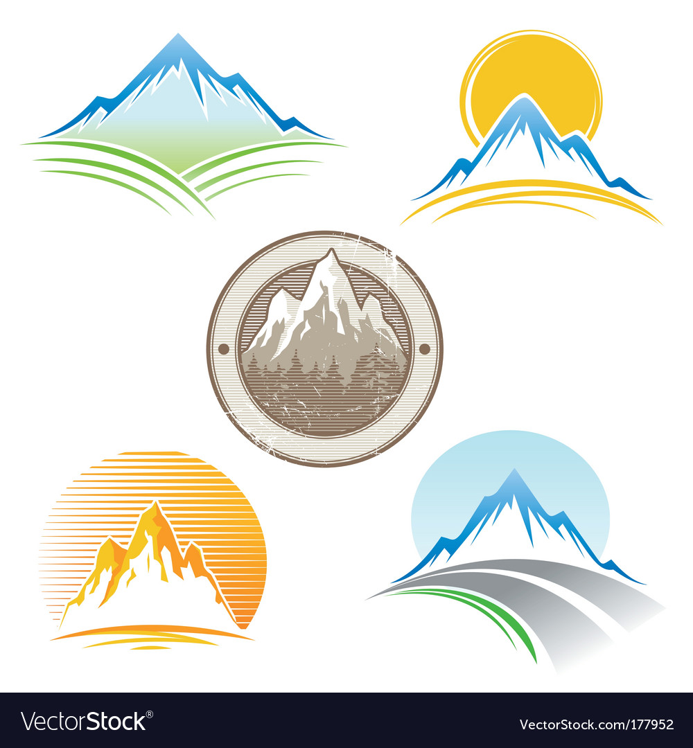 Set of mountains emblem vector image