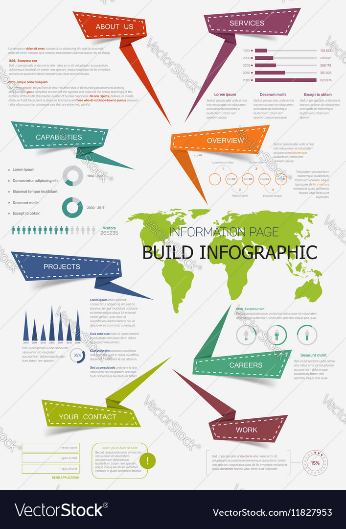 Infographic with world map for presentation design vector image