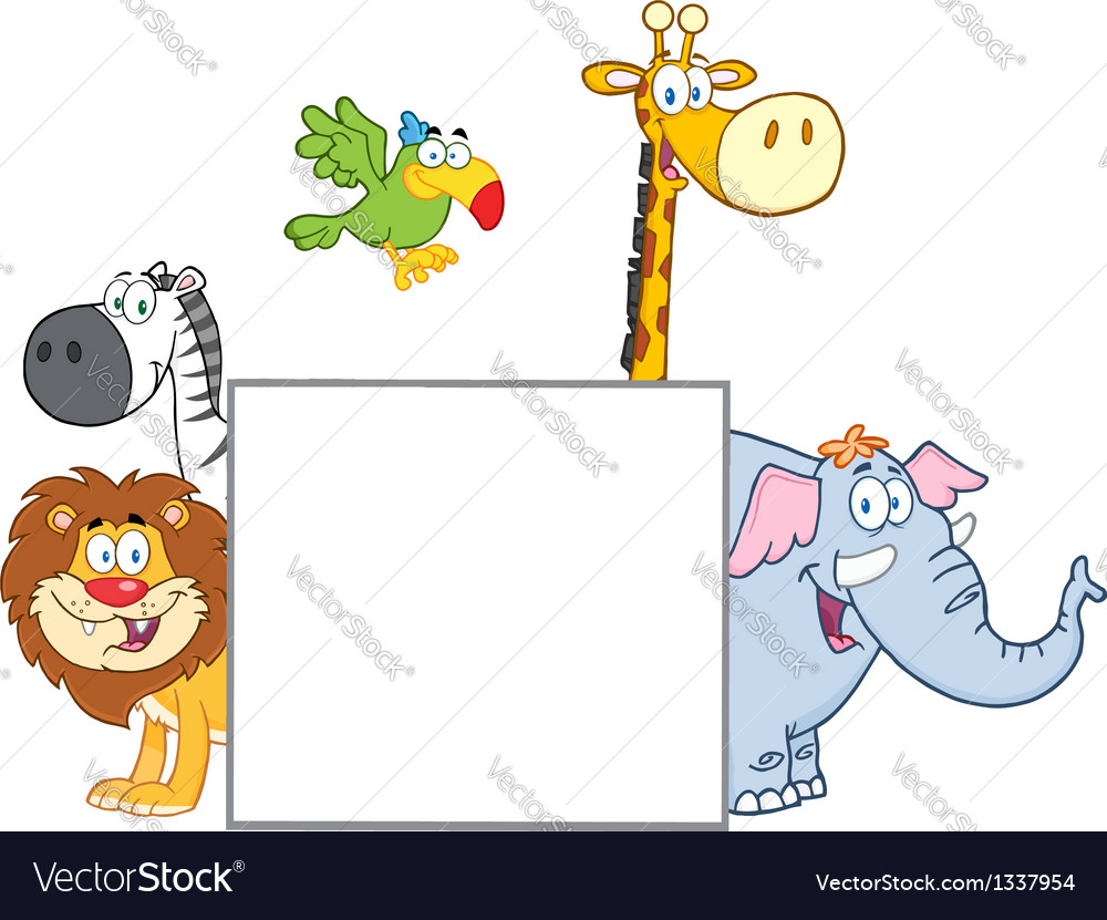 Jungle Animals With Leaves vector image