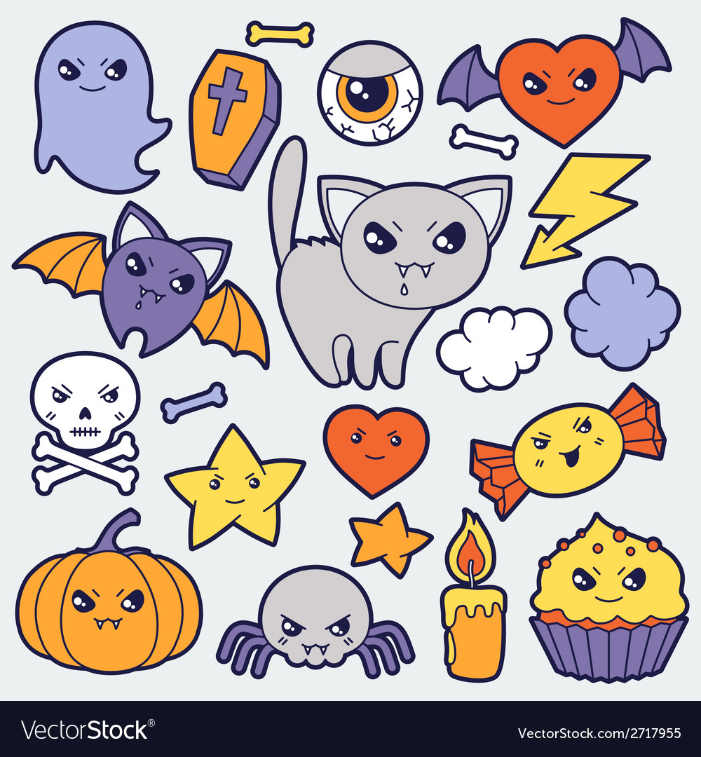 Set of halloween kawaii cute doodles and objects vector image