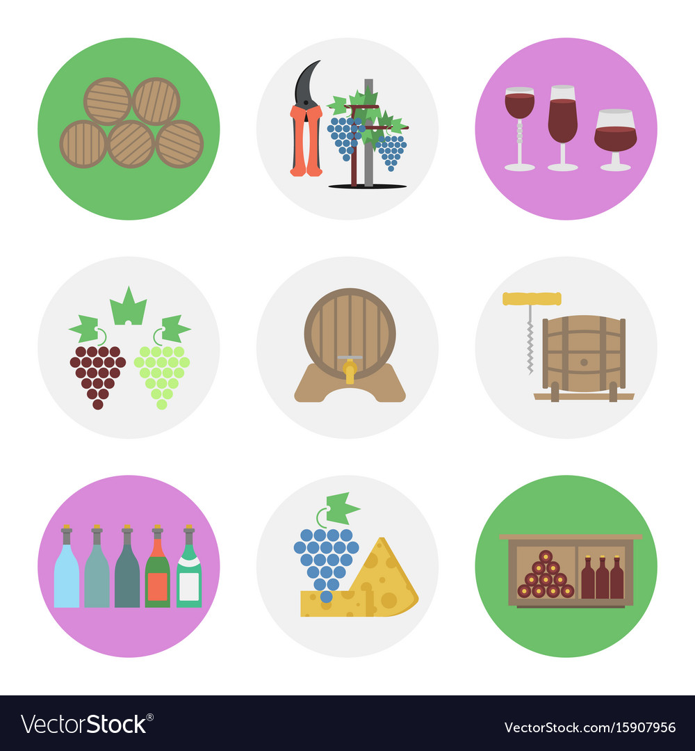 Nine color flat icon set - wine production vector image