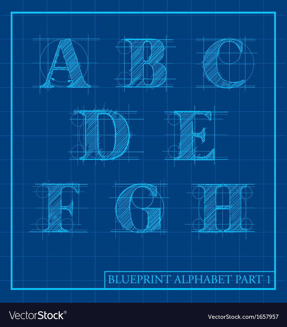 Blueprint style alphabet set 1 royalty free vector image blueprint style alphabet set 1 vector image malvernweather Images