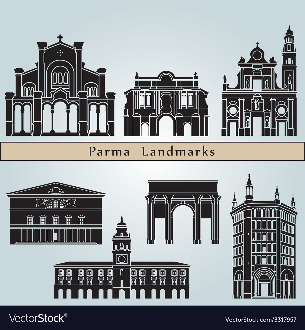 Parma landmarks and monuments vector image