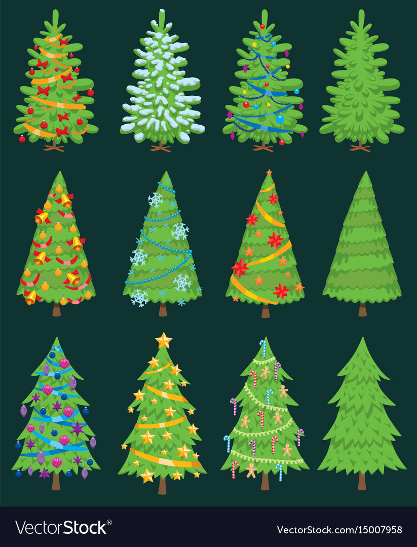 Christmas tree ornament design vector image