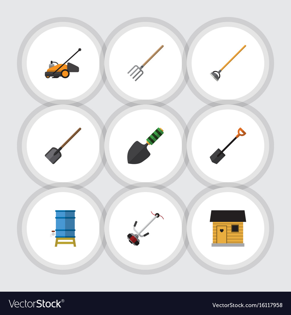 Flat icon dacha set of grass-cutter shovel vector image