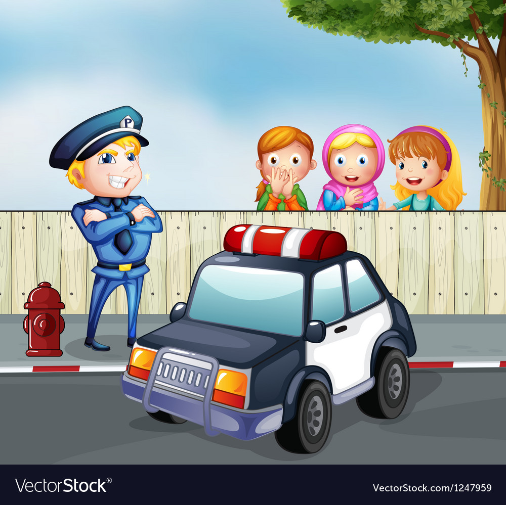 A policeman and the three girls outside the fence vector image