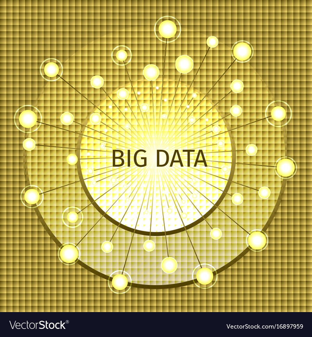 Big data on a gold mosaic backgroun vector image