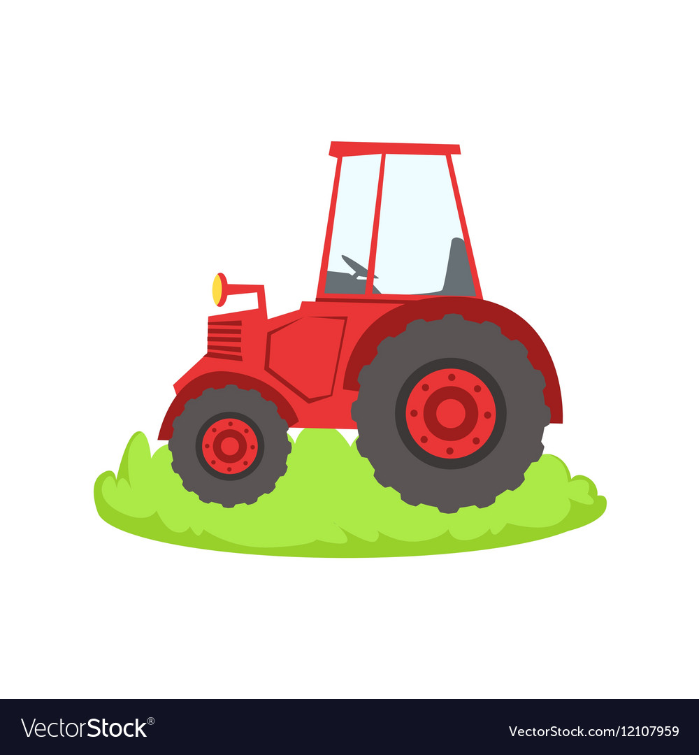 Red Farm Truck Cartoon Farm Related Element On vector image